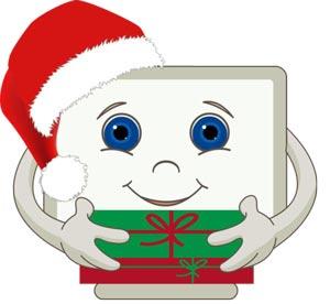 Cartoon of computer with santa hat from Compucara